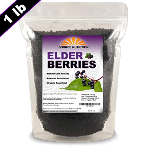 Dried Elderberries - Naturally Grown, Whole European Elder Berries, Responsibly Wild Crafted - (1 Pound) - Bulk Resealable Bag (Organic Ingredients)