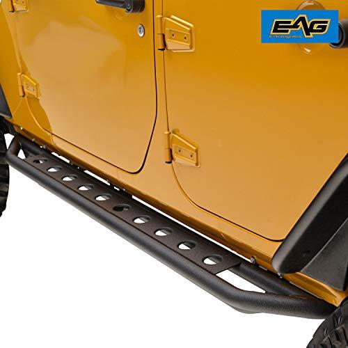 (EAG Side Armor Steps Fit for 07-18 Jeep Wrangler JK 4 Door Nerf Bars Running Boards)