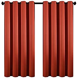 DOOYEE Room Darkening Solid Color Blackout Curtains Kids Bedroom,Thermal Insulated Noise Reduction Living Room,1 Panel 1 Tieback,52 inch Wide 63 inch Long Rust