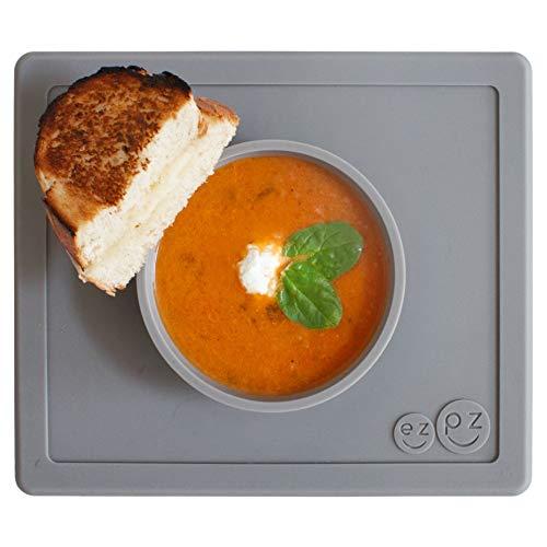 ezpz Happy Bowl - One-Piece Silicone placemat + Bowl (Gray) ()