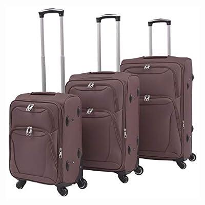 HomyDelight Suitcase, 3 Piece Soft Case Trolley Set Coffee