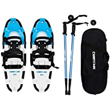 """Carryown All Terrain Snowshoes Snow Shoes 14"""" /21""""/ 25""""/ 27""""/ 30"""" for Adults Men Women Youth Kids with Pair Antishock Snowshoeing Poles, Adjustable Ratchet Binding, Free Carrying Tote Bag"""