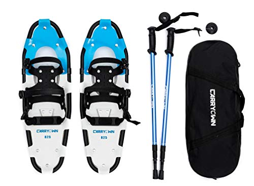 Carryown Snowshoes Snow Shoes 14/21/25/27/30 for Adults Men Women Youth Kids with Pair Antishock Snowshoeing Poles, Adjustable Ratchet Binding, Free Carrying Tote Bag