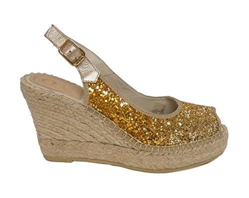 Vidorreta sandalo glitter zeppa corda 12400 oro nr.40
