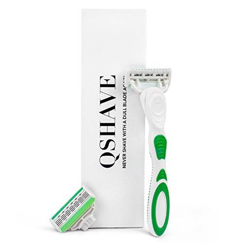 QSHAVE Green Women's Shaving Razor, 1 Razor Handle + 2 Pcs X5 Blade Refills (1 Handle + 2 Refills)