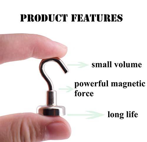 Magnetpro 6 Stück Magnethaken 9 KG Kraft, 16 mm Magnete Magnetischer für Türen, Schränke, Decken, Armaturen…
