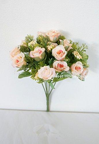 (Silk Roses --- Sweet Home Deco Sweet Home Deco 11'' Silk Mini Cute Rose Artificial Flower Bush (6 Stems/15 Flower Heads) (3, Light Peach))