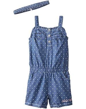 Baby Girls' Printed Medium Blue Chambray Romper