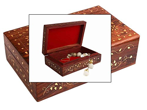 Valentine Day Special Present, Wooden Jewelry Box,Brass Inlay ,Unique Flower Box,Gorgeous Hand Carved Rosewood,Trinket Jewelry Box,6 X 4 (Crafted Jewelry)