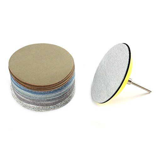 3-Inch No Holes Hook-and-Loop Dry and Wet/Dry Sanding Discs with Backing Pad,5 Each of 6 Grits (Assortment)