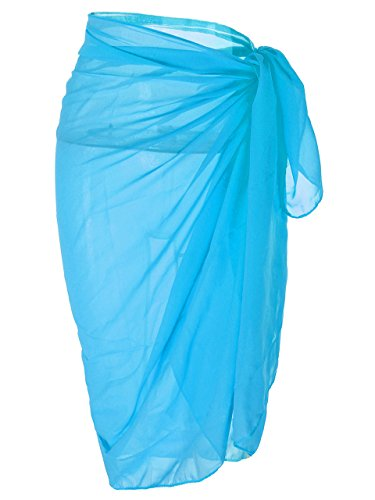 Ayliss Womens Swimwear Chiffon Cover up Solid Color Beach Sarong Swimsuit Wrap,Blue