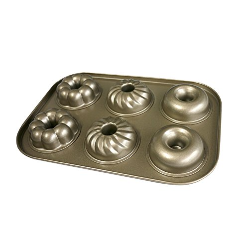 Donut Pan Makes 6 Full Size Donuts,3 Pattern and Non-Stick Donut Mold Safe Baking Tray Maker Pan Heat Resistance for Cake Biscuit Bagels Donut cake mold