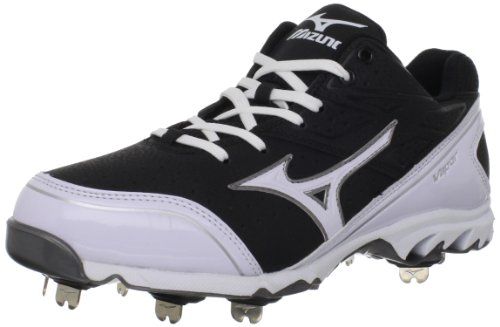 Mizuno Men's 9-Spike Vapor Elite 6 Baseball Cleats,Black/White,10 M US