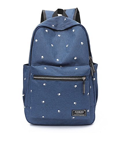 Y.H.X Cheap Women's Backpack Fashion Nylon Cloth Paw Pattern Large Volume Ladies' Backpack Color Deep Blue
