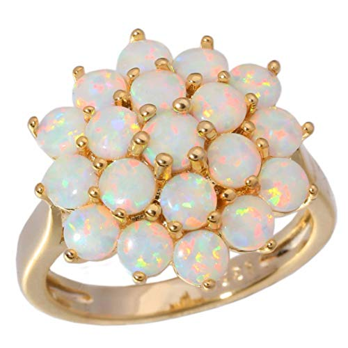 MARRLY.H Luxury Large White Fire Opal Rings with Stone Yellow Gold Color Flower Flora Bohemia Summer Jewelry Gifts for Woman White 9