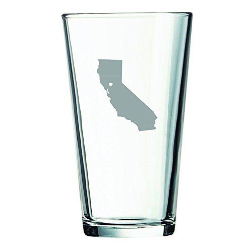 California-State Outline-Heart-16 oz. Pint Glass