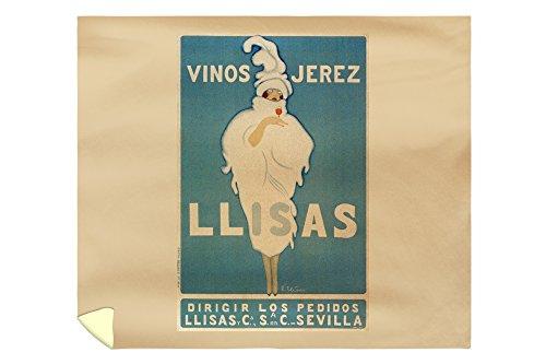 Llisas - Vinos Jerez Vintage Poster Spain (88x104 King Microfiber Duvet Cover) by Lantern Press