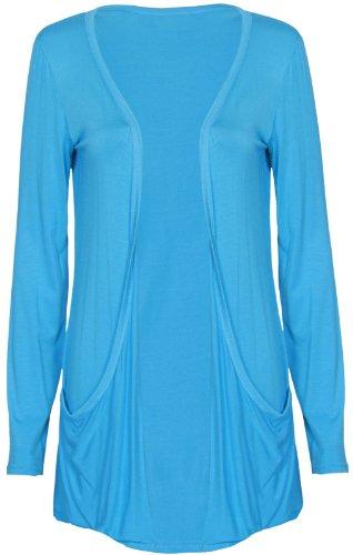 Turquoise ouverte poche Haut Cardigan femmes manches femme extensible longues 6qFw84fv