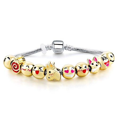 Plated Emoticon Beaded Bracelet Original