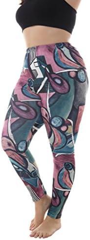 ZERDOCEAN Women's Plus Size Lightweight Printed Full Length Leggings for Summer