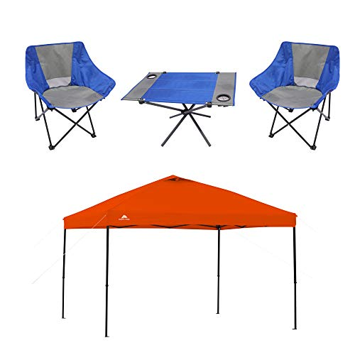 Ozark Trail 3-Piece Portable Table and Chair Set Bundle 10' x 10' Straight Leg Instant Tailgate Orange Canopy