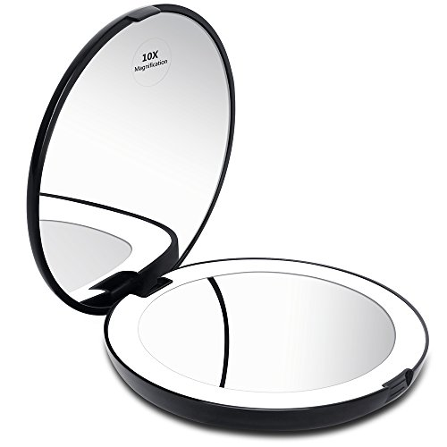 """KEDSUM LED Lighted Compact Travel Mirror, 1x/10x Magnification Lighted Makeup Mirror, Hand Held Folding Magnifying Mirror with Lights, Large 5""""Wide Illuminated Portable Mirror"""