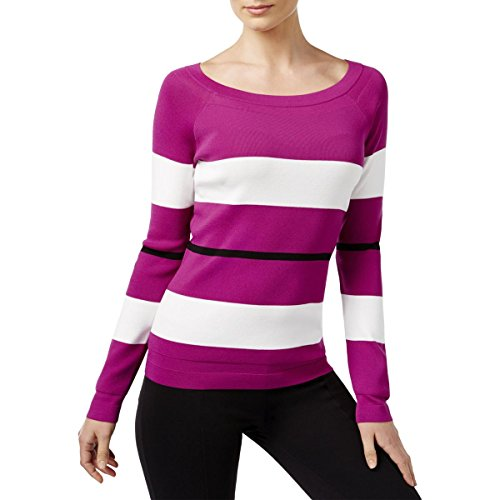 - Maison Jules Womens Petites Colorblocked Jewel Neck Pullover Sweater Purple PL