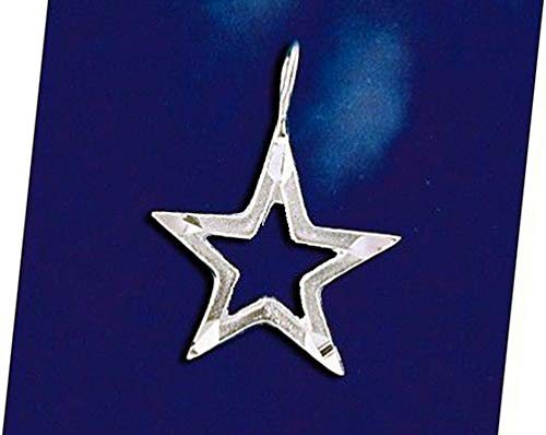 Sterling Silver Dallas Texas Cowboys Star Pendant Diamond Cut Charm Solid 925 Vintage Crafting Pendant Jewelry Making Supplies - DIY for Necklace Bracelet Accessories by CharmingSS -