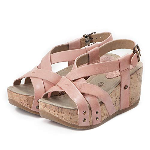 Bussola Women Sandals Formentera Cross Straps Wedge, Fabia Buckle Shoes, Soft and Stable for Walking (Blush)