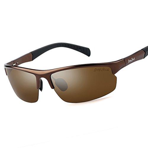 GREY JACK Mens Polarized Sports Sunglasses Al-Mg Alloy Lightweight Half Frame for Men Women Brown Frame Brown Lens -