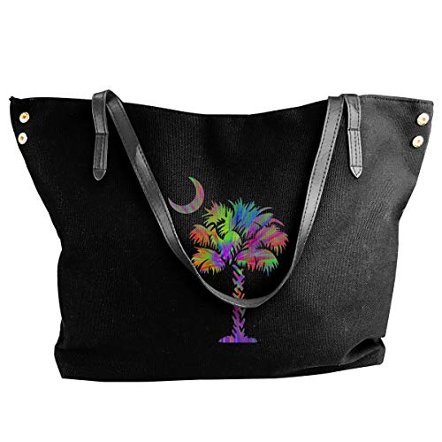 (Palmetto Tree Tie Dye Girls Canvas Shoulder Bag Fashion Large Bag Tote)