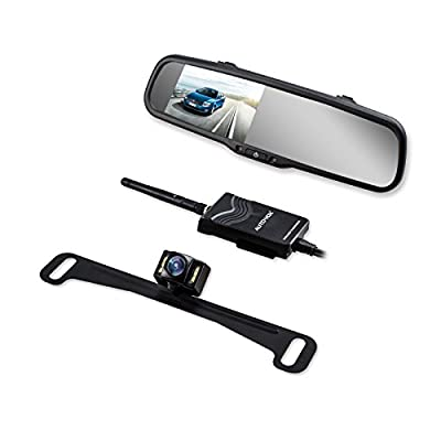 AUTO VOX Wireless Backup Camera Kit with HD Rearview Mirror Monitor and IP 68 Waterproof LED Super Night Vision License Plate Rear View Camera from AUTO-VOX