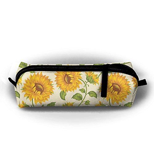 SFGTWS Sunflower Augbunny Multi-purpose Plain Oxford Cloth Canvas Zipper Pen Pencil Stationery Case Bag Cosmetic Makeup Pouch