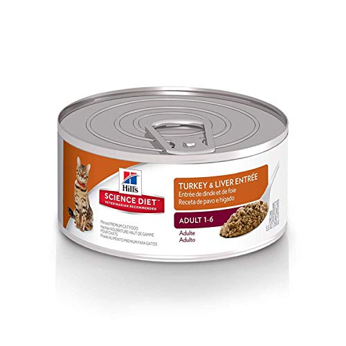 (Hill's Science Diet Wet Cat Food, Adult, Minced Turkey & Liver, 5.5 oz Cans, 24-pack)