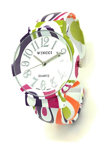 Ladies Casual Fun Colorful Stylish Metal Bangle Cuff Fashion Watch Wincci (Color (Color Fashion Cuff Watch)