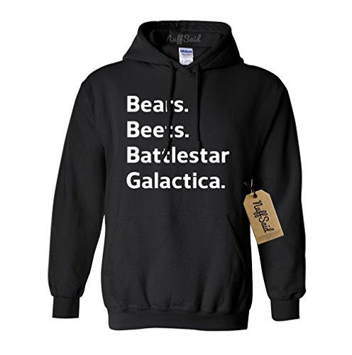 - NuffSaid Beets Bears Battlestar Galactica Hooded Sweatshirt Sweater Jumper - Unisex Hoodie (Large, Black)