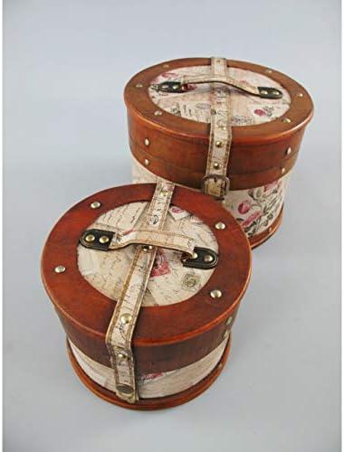 Gr Sombrero maletín Set Redondo Flores Rosas Madera Piel Sombrerera Antiguo baúl Nostalgie: Amazon.es: Jardín