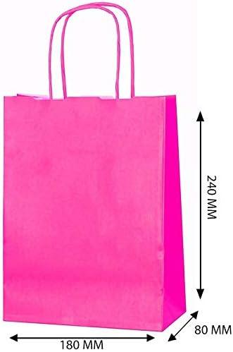 rose 11 x Farbige Twisted Papier Partyt/üten Geschenkt/üten mit Griffe xsmall B 18 x L 24 x D 8 cm Geburtstag Weihnachten Hochzeitstag Kraft Staubbeutel