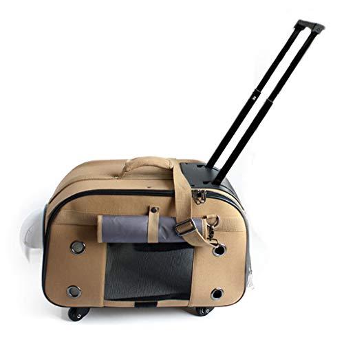 PLDDY Bolsa de Mascotas Portador de Viaje para Mascotas con Rueda, cajón de Viaje con Correas para Transportar el Hombro,...
