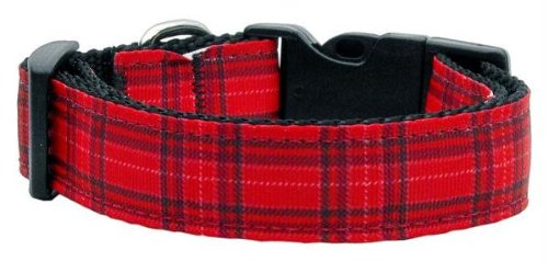 Mirage Pet Products Plaid Nylon Collar, Medium, Red