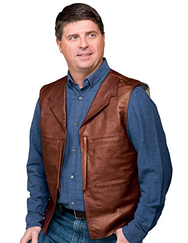 John Wayne Replica Vest, Genuine Leather Front and Suede Back Brown