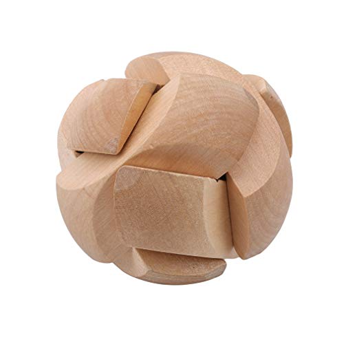 TraveT Puzzle Brain Training Toy Football Shape Wooden Puzzle Cube Intelligence Game Sphere Puzzles for Adults/Kids