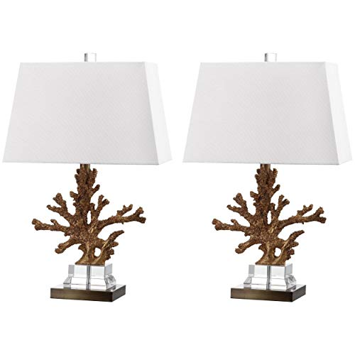 - MISC Set of 2 - Bashi Gold Coral Table Lamp Ocean Reef Light Branch Coastal Design Nautical Lighting Tropical Decor Cottage Lodge Vacation Home Summer Indoor, Acrylic Resin 23.5