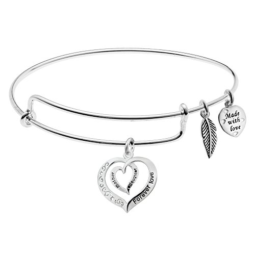 925 Sterling Silver Mother Daughter Forever Love Heart Charm Adjustable Wire Bangle by Qina C