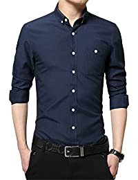 Men's Long Short Sleeve Casual Slim Fit Cotton Fashion Button Down Dress Shirt