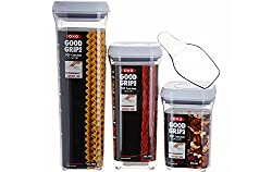 OXO good grips pop containers are airtight, stackable and space-efficient, making it easy to keep your dry foods fresh and your kitchen organized. For a true airtight seal just push the button, it also pops up to serve handle for the lid. Designed fo...