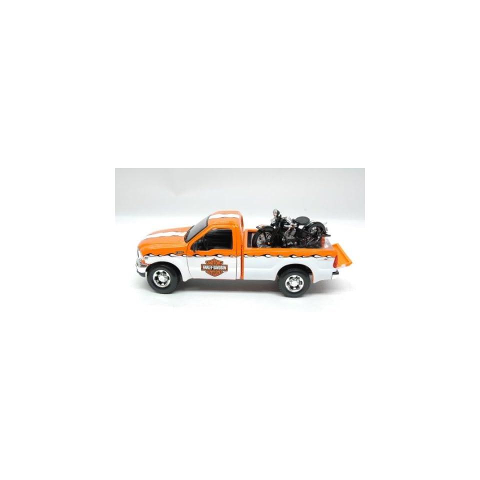 1999 Ford F350 Harley Davidson Truck 1/27 & 1936 Knucklehead Motorcycle Orange / White