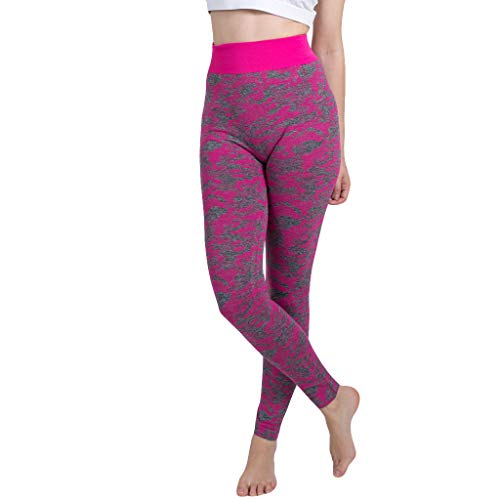 Pongfunsy Women's Yoga Pants Ladies Sport Fitness Leggings Fashion Camouflage Knitted Sports Trousers Seamless Pants (M, Purple)