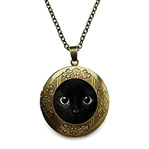 Amazon vintage bronze tone locket picture pendant necklace vintage bronze tone locket picture pendant necklace animal maxi collier cat glass cabochon included free brass aloadofball Images