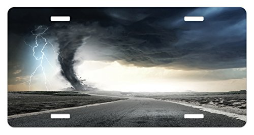 Nature License Plate by Ambesonne, Black Tornado Funnel Gas and Thunder Rolling on the Road Fume Disaster Monochrome Print, High Gloss Aluminum Novelty Plate, 5.88 L X 11.88 W Inches, - Black Tornado